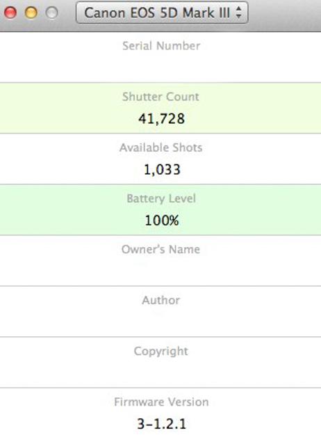 check 7d shutter count mac