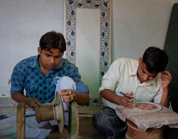 Inlaid Marble Artisans, Agra India