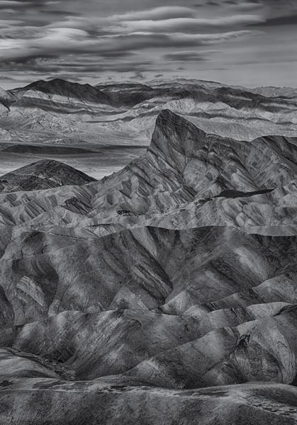 Death Valley Zabriskie Point Black and White Landscape