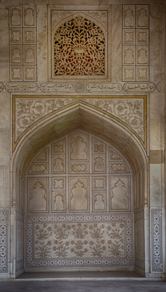 Decorated Alcove and Wall, Agra Fort