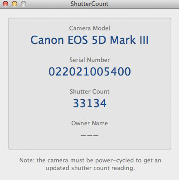 Find out how many shots your Digital SLR has taken