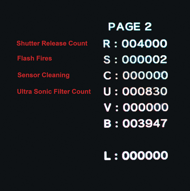 Olympus Hidden Menu with Shutter Counts