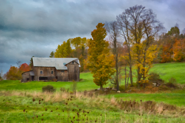 South Peacham Barn - Oil Paint Effect