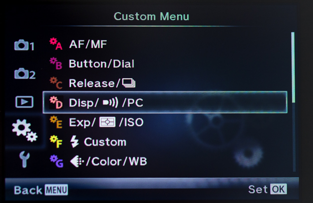 Olympus Two Gear Menu