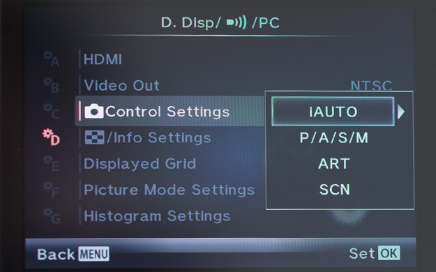 Olympus Control Settings Menu