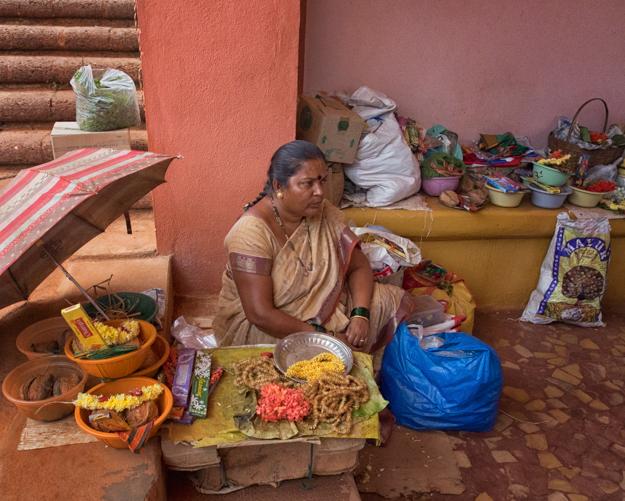Selling Flowers at the Shri Shantadurga Temple