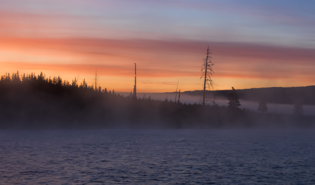 Foggy Morning Sunrise on the Madison River in Yellowstone National Park