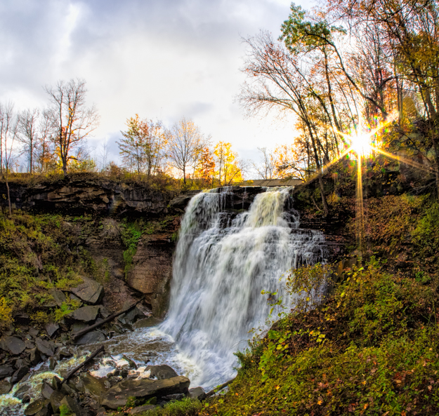 Sun Coming Out Over Brandywine Falls