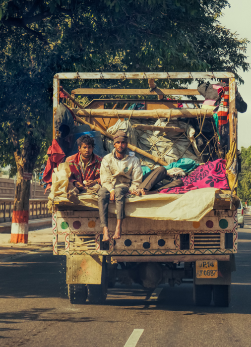 Riding in the Back of a Truck, New Delhi