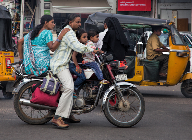 Rajasthani Family Navigating the Traffic on a Motorcycle