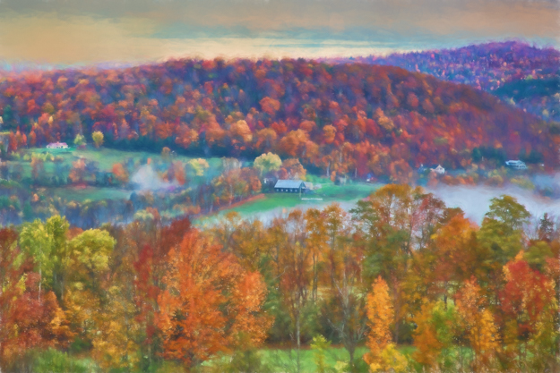 Vermont Autumn Countryside - Painted Look