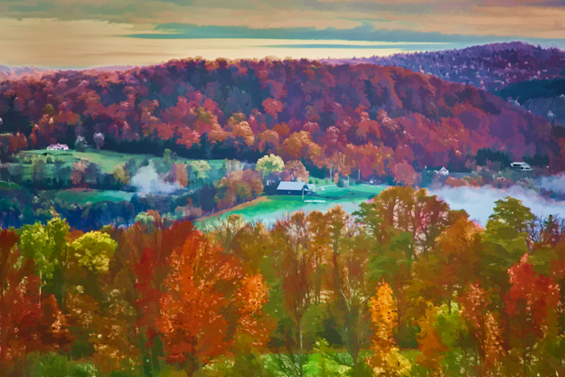 Vermont Fall Countryside Watercolor