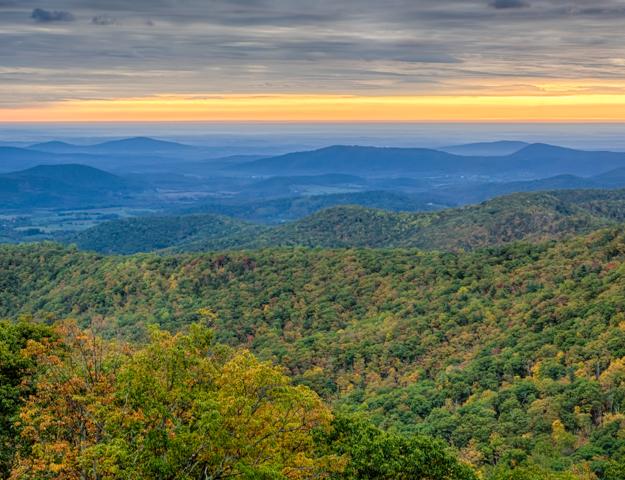 Shenandoah Sunrise from Hazel Mountain Overlook