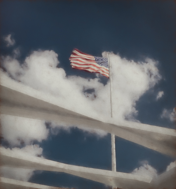 Flag Flying over the USS Arizona Memorial