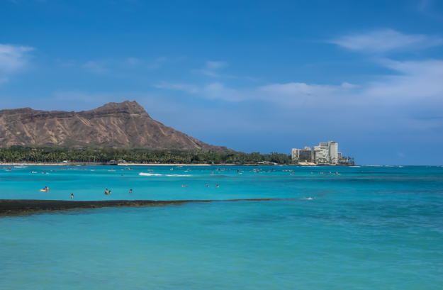 Waikiki Beach with swimmers in the Foreground