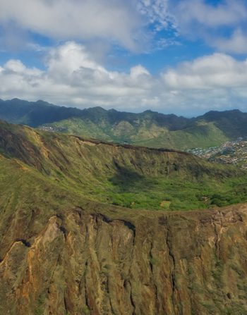 Koko Head Crater Helicopter View