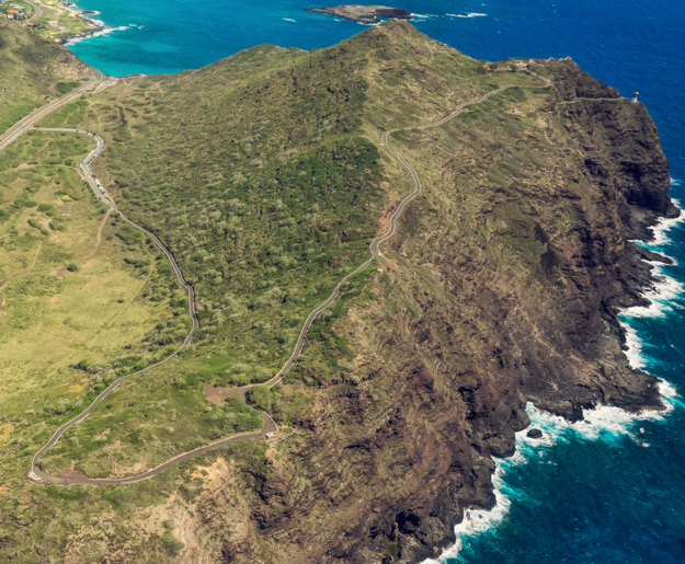 Aerial View of the Makapu'u Point Lighthouse Trail