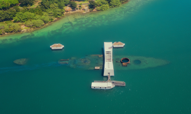 Aerial View of the USS Arizonal Memorial, Pearl Harbor