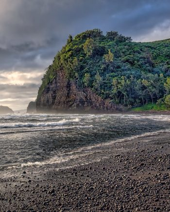 Pololu Black Sand Beach, Big Island