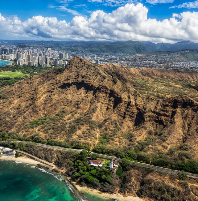 Aerial View of Diamond Head Crater and Lighthouse