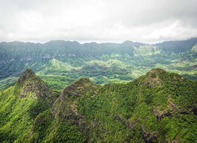 Helicopter View of the Green Mountains of Oahu