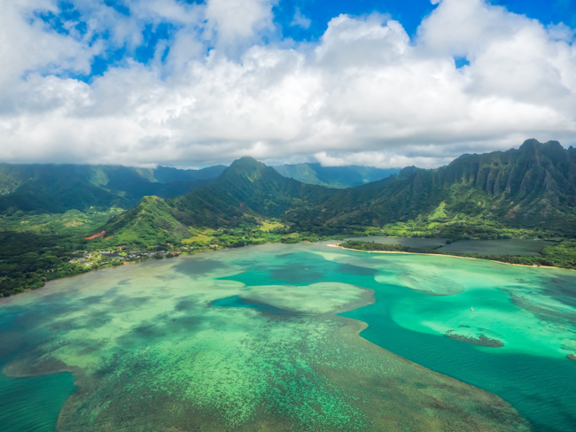 Helicopter View of Kaneohe Bay, Oahu, Hawaii