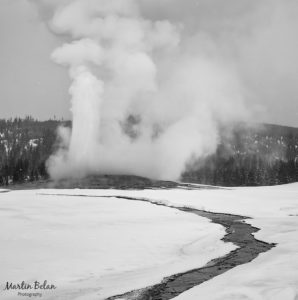 Old Faithful Erupting in the Winter