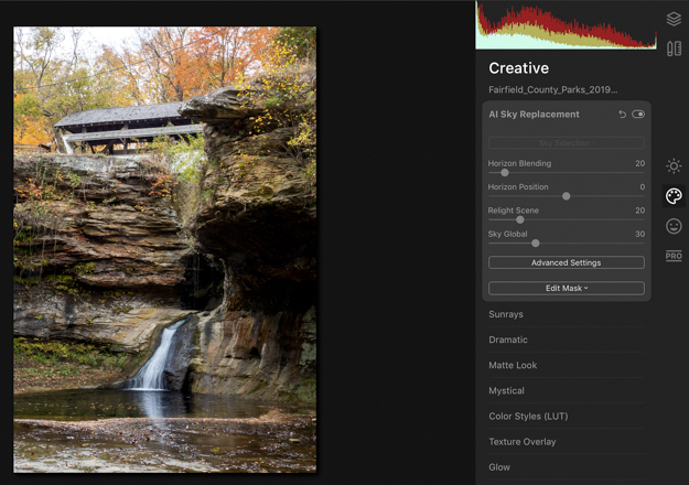 Luminar 4 Sky Replacement - Rock Mill Waterfall