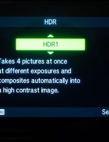 Olympus HDR Menu