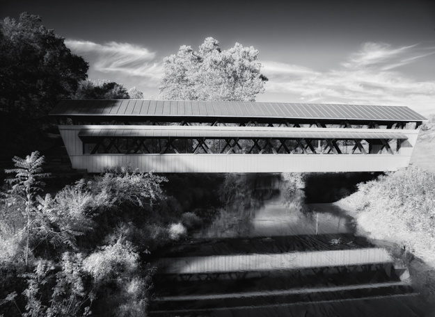 Johnston Covered Bridge, Two Glaciers Park, Infrared