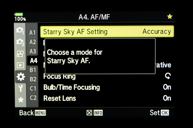 Starry Sky AF Mode Selection Menu