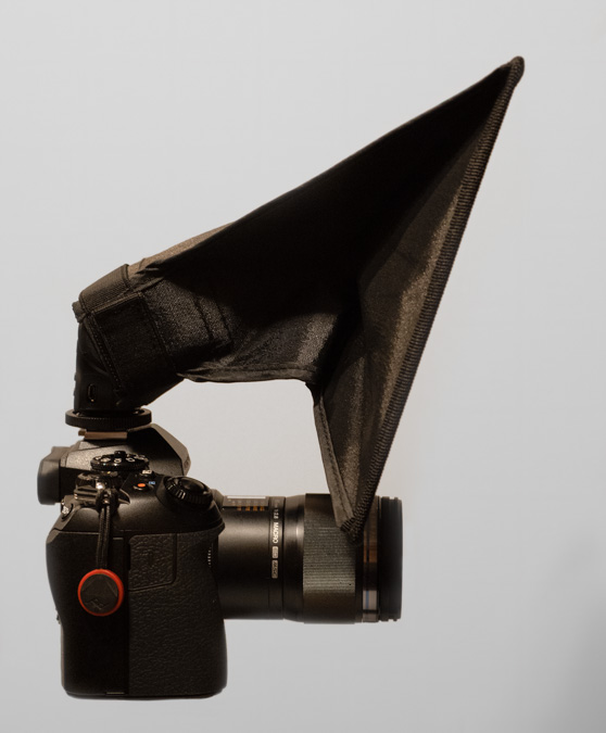 "9 x 7"" Softbox attached to the Meike MK320"