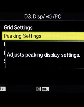 Focus Peaking Settings Menu