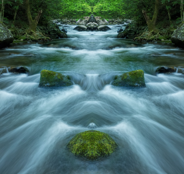 Rapids Along Tremont Road, Smoky Mountains - Mirror Image