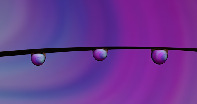Pink and Blue Swirl Water Drop Refraction - Before
