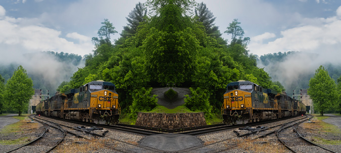 Train at Thurmond, West Virginia - Mirror Image