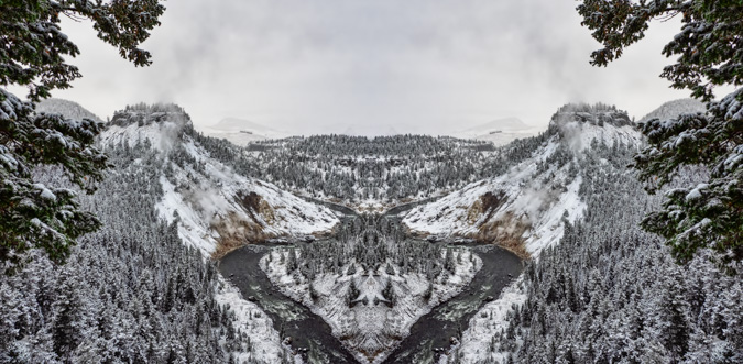 Yellowstone, Calcite Springs in the Winter - Mirror Image