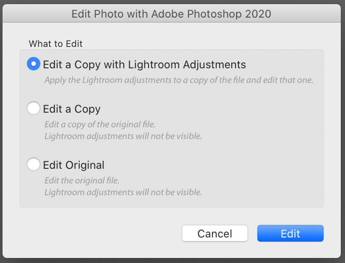 Edit in Photoshop 2020 Dialog