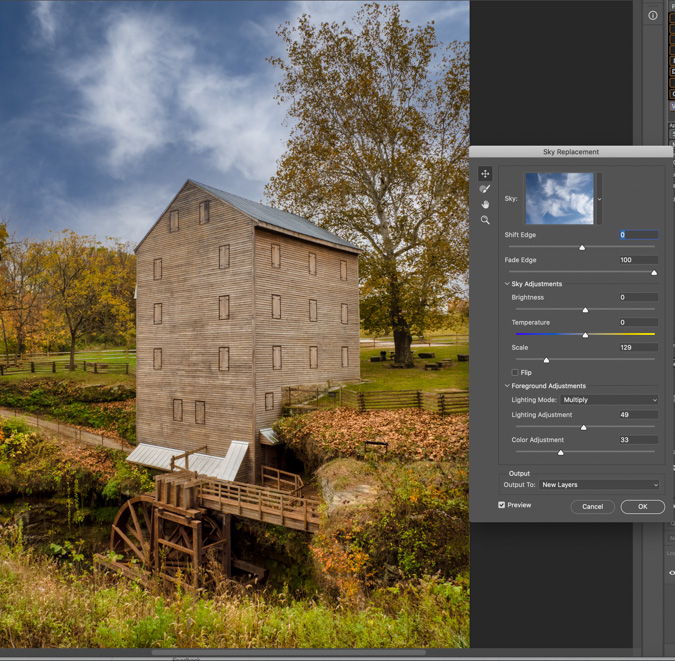 Old Mill Sky Replacement - Photoshop CC 2021