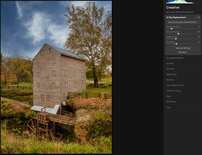 Old Mill Sky Replacement - Luminar