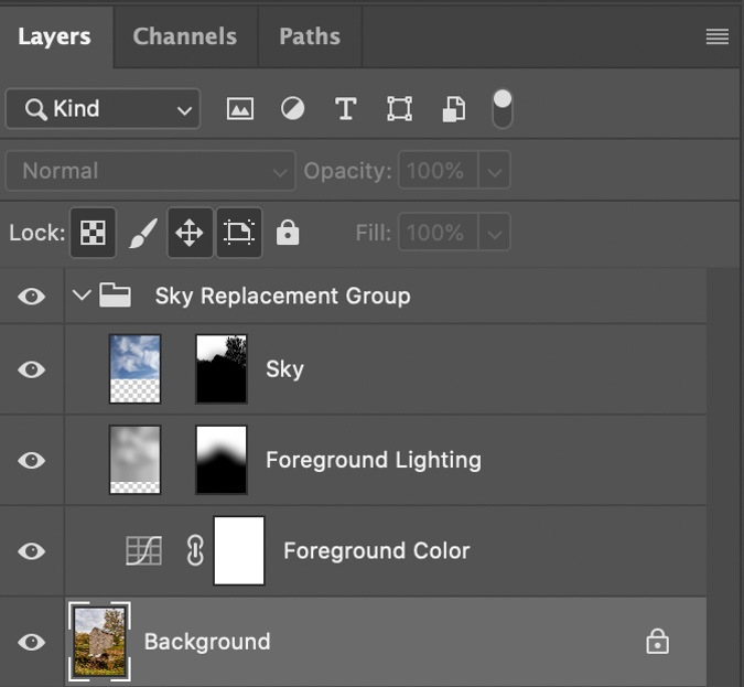 Photoshop Sky Replacement Layers Group
