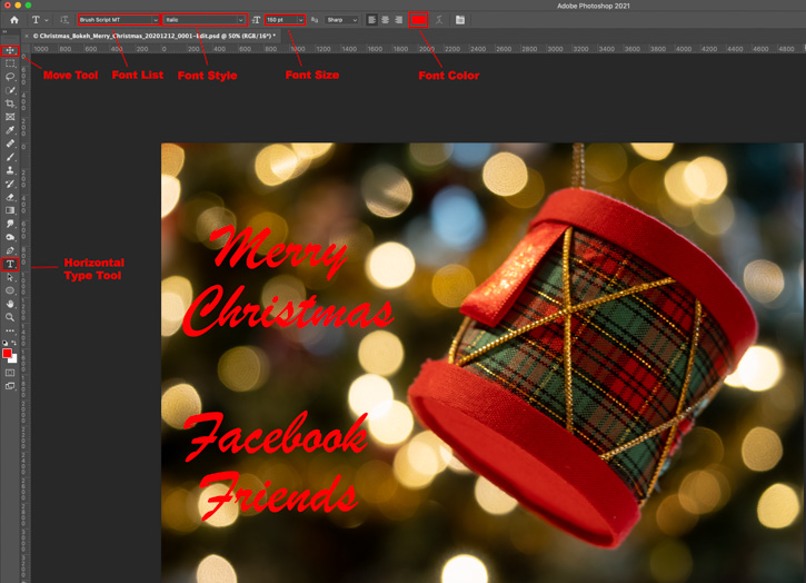 Adding Text to a Holiday eCard