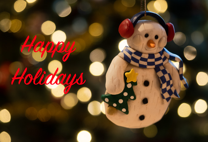 Snowman eCard with Holiday Bokeh