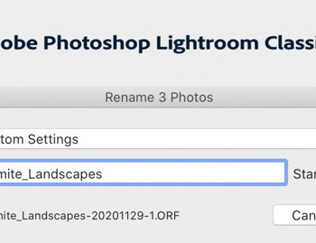Renaming Multiple Photos in Lightroom