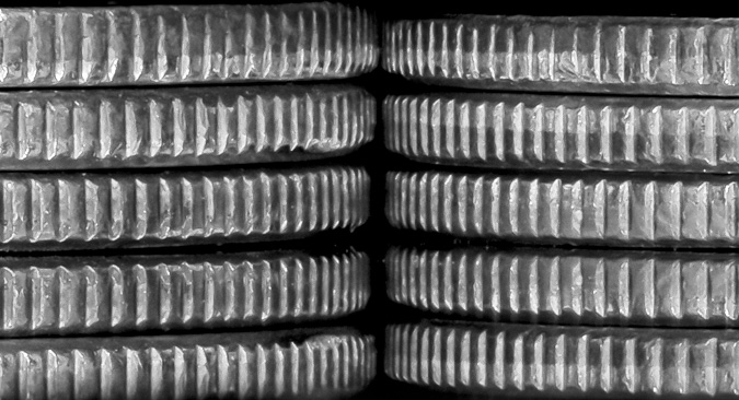 Stacked Quarters, Taken in a Lightbox, f/10, 1/30 sec