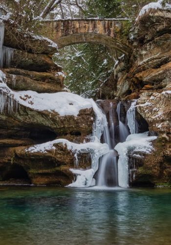 Icy Upper Falls at Old Man's Cave Hocking Hills