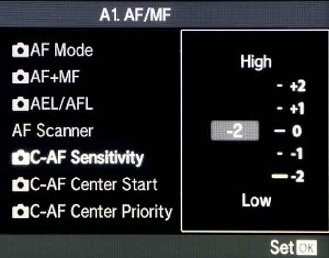 Continuous AF Sensitivity