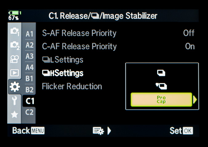 Pro Capture High Settings Located in the Cogs - C1 Menu