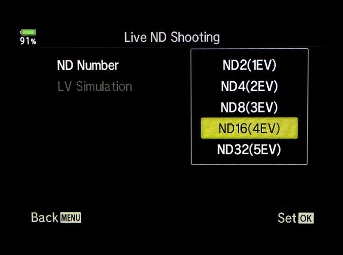 Live ND Menu under Shooting Menu 2